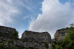 Ένας αρχαίος οδοντωτός τοίχος πετρών, που εισβάλλεται με τα πράσινα στοκ εικόνες με δικαίωμα ελεύθερης χρήσης