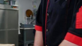 Ένας αρχιμάγειρας που διαμορφώνει μια ζύμη για την πίτσα που χρησιμοποιεί ένα αλεύρι απόθεμα βίντεο