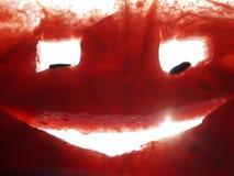 Ένας αστείος λίγο πρόσωπο χάρασε από ένα καρπούζι με τα μάτια και το στοματικό φυσικό φως γέλιου Στοκ Εικόνες