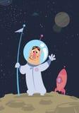 Austronaut στο διάστημα που προσγειώνεται σε έναν πλανήτη Στοκ Φωτογραφία