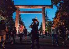 Ένας αστυνομικός εξασφαλίζει ασφάλεια στο φεστιβάλ Mitama του 2018 Στοκ Εικόνα