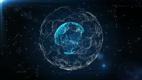 Ένας αφηρημένος πλανήτης Γη με μια δομή του πλέγματος και των μορίων γύρω Πλανήτης των ψηφιακών αφηρημένων τεχνολογιών απόθεμα βίντεο