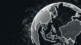 Ένας αφηρημένος πλανήτης Γη με μια δομή του πλέγματος και των μορίων γύρω Πλανήτης των ψηφιακών αφηρημένων τεχνολογιών φιλμ μικρού μήκους