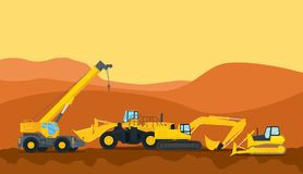 Ένας βαρύς εξοπλισμός μηχανών εργαλείων κατασκευής στο διάνυσμα περιοχής περιοχών γραφικό ελεύθερη απεικόνιση δικαιώματος