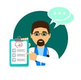 Ένας γιατρός με τη διάγνωση του ασθενή Γιατρός με ένα στηθοσκόπιο Επίπεδο ύφος απεικόνιση αποθεμάτων