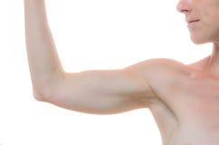 Ένας γυμνοί ώμος και βραχίονας γυναικών που κάμπτονται στον αγκώνα Στοκ φωτογραφίες με δικαίωμα ελεύθερης χρήσης