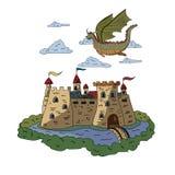 Ένας δράκος νεράιδων που πετά πέρα από ένα αρχαίο κάστρο ανασκόπηση που σύρει το floral διάνυσμα χλόης απεικόνιση αποθεμάτων