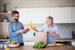 Ένας ενήλικος γιος hipster και ένας ανώτερος πατέρας στο εσωτερικό στο σπίτι, που ανοίγουν τις αγορές στοκ φωτογραφία