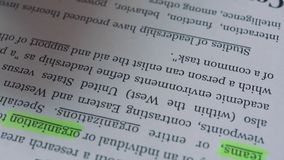 Ένας επιχειρηματίας δίνει έμφαση στον καθορισμό της ηγεσίας λέξης με έναν δείκτη στο κείμενο απόθεμα βίντεο