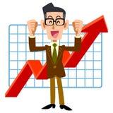 Ένας επιχειρηματίας είναι ευτυχής με την άνοδο απόδοσης απεικόνιση αποθεμάτων