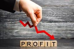 """Ένας επιχειρηματίας κρατά ένα κόκκινο βέλος σε κάτω και την επιγραφή """"κέρδος """" Ανεπιτυχείς επιχείρηση και ένδεια Πτώση κέρδους Απ στοκ φωτογραφία με δικαίωμα ελεύθερης χρήσης"""