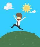 Ένας επιχειρηματίας με την ευτυχία στη ζωή ελεύθερη απεικόνιση δικαιώματος