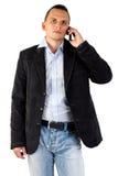 Ένας επιχειρηματίας που μιλά στο τηλέφωνό του Στοκ εικόνα με δικαίωμα ελεύθερης χρήσης
