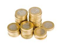 Ένας ευρο- σωρός νομισμάτων Στοκ Φωτογραφίες