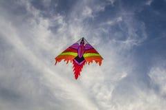 Ένας ζωηρόχρωμος ικτίνος που πετά στα σύννεφα Στοκ Φωτογραφίες