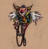 Κλόουν με τα φτερά σε ένα παλαιό ποδήλατο Στοκ εικόνες με δικαίωμα ελεύθερης χρήσης