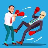 Ένας ηττημένος επιχειρηματιών έπεσε στο πάτωμα, δεύτερος τυχερός επιχειρηματίας ο νικητής στο διάνυσμα γαντιών εγκιβωτισμού απομο ελεύθερη απεικόνιση δικαιώματος
