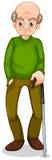 Ένας ηληκιωμένος που στέκεται με έναν κάλαμο Στοκ εικόνες με δικαίωμα ελεύθερης χρήσης