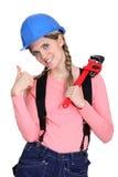 Ένας θηλυκός εργάτης οικοδομών Στοκ Εικόνες