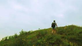Ένας θηλυκός τουρίστας με ένα σακίδιο πλάτης σε την πίσω άνοδοι σε ένα βουνό που καλύπτεται με την πράσινη βλάστηση φιλμ μικρού μήκους