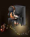 Ένας θηλυκός μουσικός που παίζει με το πιάνο ελεύθερη απεικόνιση δικαιώματος
