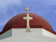 Ένας θόλος μιας εκκλησίας σε Mykonos, Ελλάδα Στοκ Φωτογραφία