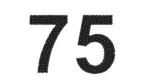 Ένας διακοσμητικός αριθμός 75 που αποτελείται από τις μικρές σφαίρες διανυσματική απεικόνιση