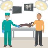 Ένας διορισμός στον κτηνίατρο Το σκυλί κάνει τον πυροβολισμό Εμβολιασμός για το ζώο Το ιατρικό γραφείο απεικόνιση αποθεμάτων
