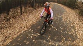 Ένας καυκάσιος δρόμος ποδηλάτων γύρων παιδιών στο πάρκο φθινοπώρου Το μικρό κορίτσι που οδηγά το μαύρο πορτοκαλή κύκλο στο δασικό απόθεμα βίντεο