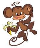 Ευτυχής πίθηκος κινούμενων σχεδίων που τρώει την μπανάνα Στοκ Εικόνες