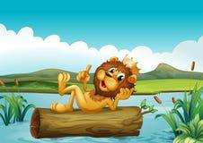 Ένας κορμός με ένα λιοντάρι βασιλιάδων ελεύθερη απεικόνιση δικαιώματος
