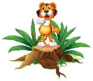 Ένας κορμός με μια τίγρη στην κορυφή διανυσματική απεικόνιση