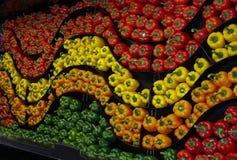 Ένας κυματιστός τοίχος των ζωηρόχρωμων πιπεριών Στοκ εικόνα με δικαίωμα ελεύθερης χρήσης