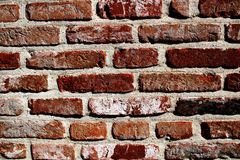 Ένας κόκκινος παλαιός τοίχος τούβλων με την παλαιά τεκτονική Κόκκινη παλαιά πλινθοδομή 1 Στοκ Φωτογραφίες