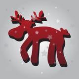 Ένας κόκκινος τάρανδος Χριστουγέννων τρισδιάστατος Στοκ Εικόνες