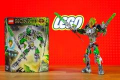 Ένας κόσμος παιχνιδιών χαρακτήρα Lego Bionicle - Lewa, Uniter της ζούγκλας Στοκ Εικόνες