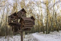 Ένας μεγάλος ξύλινος τροφοδότης πουλιών σε ένα χειμερινό πάρκο Στοκ εικόνες με δικαίωμα ελεύθερης χρήσης