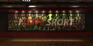 Ένας μεγάλος πίνακας διαφημίσεων με την επιγραφή Ι αγαπά τον αθλητισμό ενάντια Στοκ φωτογραφία με δικαίωμα ελεύθερης χρήσης
