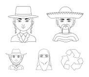 Ένας μεξικανός, ένας Εβραίος, μια γυναίκα από τη Μέση Ανατολή, ένας Αμερικανός Τα καθορισμένα εικονίδια συλλογής ανθρώπινων φυλών διανυσματική απεικόνιση