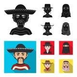 Ένας μεξικανός, ένας Εβραίος, μια γυναίκα από τη Μέση Ανατολή, ένας Αμερικανός Τα καθορισμένα εικονίδια συλλογής ανθρώπινων φυλών απεικόνιση αποθεμάτων