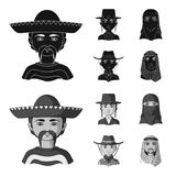Ένας μεξικανός, ένας Εβραίος, μια γυναίκα από τη Μέση Ανατολή, ένας Αμερικανός Τα καθορισμένα εικονίδια συλλογής ανθρώπινων φυλών ελεύθερη απεικόνιση δικαιώματος