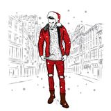Ένας μοντέρνος τύπος σε ένα σακάκι, τα τζιν και ένα καπέλο Χριστουγέννων επίσης corel σύρετε το διάνυσμα απεικόνισης Νέο έτος ` s Στοκ εικόνες με δικαίωμα ελεύθερης χρήσης