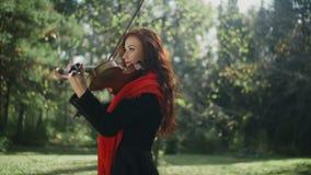 Ένας μουσικός με μια φωτεινή εμφάνιση βιολί παιχνιδιού φιλμ μικρού μήκους