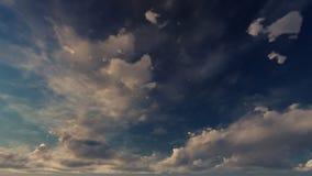 Ένας μπλε ουρανός με τα άσπρα και χρυσά σύννεφα απεικόνιση αποθεμάτων