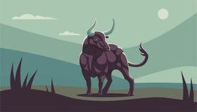 Ένας μυϊκός ταύρος με τα μεγάλα κέρατα ελεύθερη απεικόνιση δικαιώματος