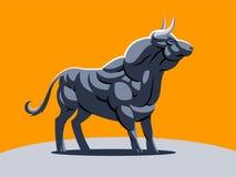 Ένας μυϊκός ταύρος στο πορτοκαλί υπόβαθρο διανυσματική απεικόνιση