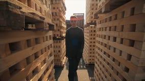 Ένας νέος εργαζόμενος στους ομοιόμορφους περιπάτους μεταξύ των ξύλινων παλετών στην υπαίθρια αποθήκη εμπορευμάτων διανομής o φιλμ μικρού μήκους