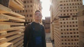 Ένας νέος εργαζόμενος στους ομοιόμορφους περιπάτους μεταξύ των ξύλινων παλετών στην υπαίθρια αποθήκη εμπορευμάτων διανομής o απόθεμα βίντεο