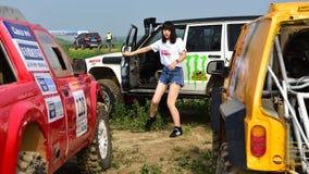 Ένας νέος θηλυκός συναγωνιμένος οδηγός Στοκ Εικόνα