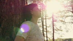Ένας νέος τουρίστας στέκεται με την πίσω στο δέντρο και εξετάζει τον ουρανό Η κάμερα περιστρέφεται γύρω από το κορίτσι στο δάσος φιλμ μικρού μήκους